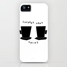 Coffee? Tea? Talk? - Kitchen Illustration Black and White iPhone Case