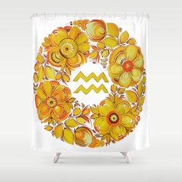Aquarius in Petrykivka style (without artist's signature/date) Shower Curtain
