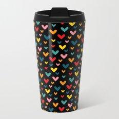 Happy Hearts on Black Metal Travel Mug
