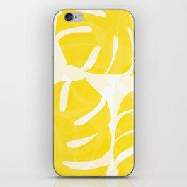 Mellow Yellow Monstera Leaves White Background #decor #society6 #buyart iPhone Skin