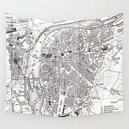 Vintage Map of Prague (1858) Wall Tapestry