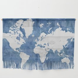 Navy blue watercolor and light grey world map with countries (outlined) Wall Hanging
