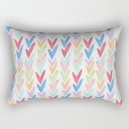 Modern hand painted colorful watercolor abstract chevron Rectangular Pillow