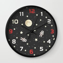 Space - Stars Moon and Astronauts on black Wall Clock
