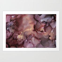 Ink Swirls Painting Lavender Plum Gold Flow Art Print