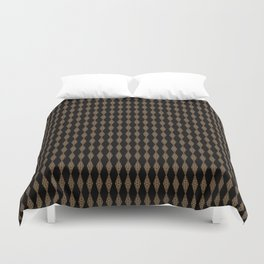 Black with Brown Textured Diamonds Pattern Duvet Cover