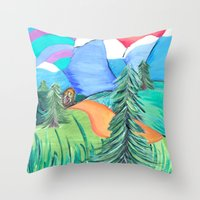 bigfoot Throw Pillows featuring Strolling bigfoot by liza salmon