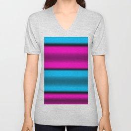 Pink & Blue Horizontal Stripes Unisex V-Neck
