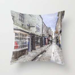 The Shambles York Snow Art Throw Pillow