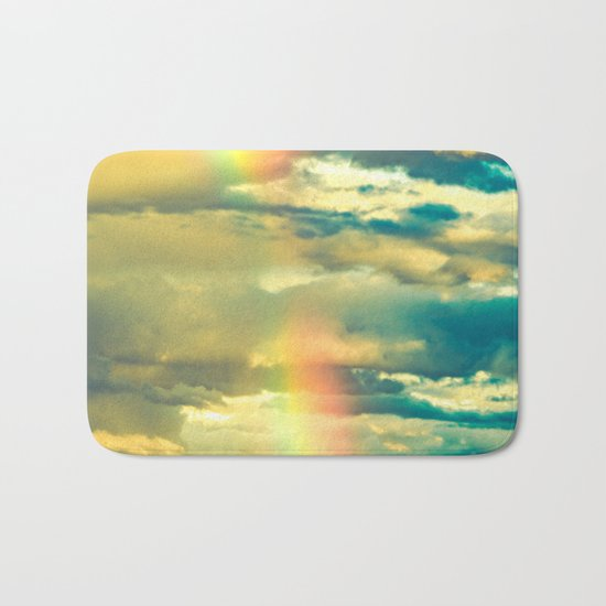 Rainbow Blue Sky Clouds Bath Mat