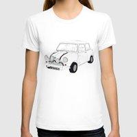 mini cooper T-shirts featuring The Italian Job Blue Mini Cooper by Martin Lucas