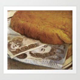Don't Eat...' Money Sandwich Still life Painting Corruption in Food Industry Art Print