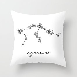 Aquarius Floral Zodiac Constellation Throw Pillow
