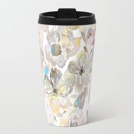 Elegant whimsical grey watercolor roses Travel Mug