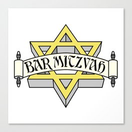 Bar Mitzvah with gold star of david Canvas Print