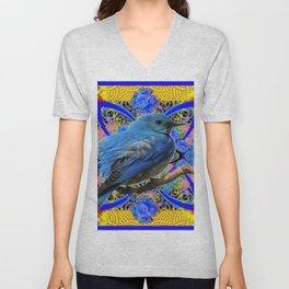 DECORATIVE BLUE BIRD IN GOLDEN ART Unisex V-Neck