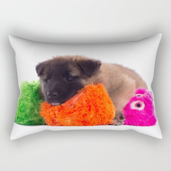 Puppy with colored toys Rectangular Pillow