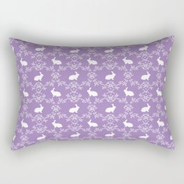 Rabbit pet silhouette floral rabbits bunny gifts cute minimal pets purple Rectangular Pillow