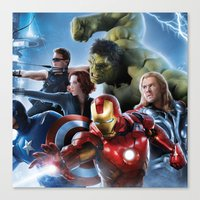 super heroes Canvas Prints featuring Super Heroes by Tom Lee