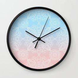 Pastel Dreams Mandala on Blue and Pink Linen Wall Clock