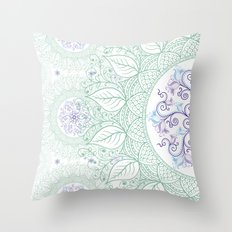 Mandaleaf - Green Throw Pillow