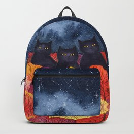 Three Black Cats in Autumn Watercolor Backpack