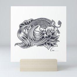 Koi and Lotus - Courage and Beauty Mini Art Print