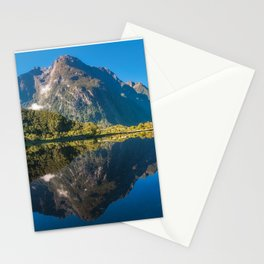 Mountain View Reflections in Water at Milford Sound Stationery Cards