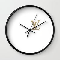 lv Wall Clocks featuring Side LV by Goldflakes