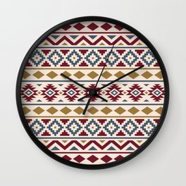 Aztec Essence Ptn III Red Blue Gold Cream Wall Clock