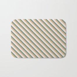 Diagonal Stripes in Olive, Terracotta, Tan and Cream Bath Mat