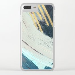 Karma: a bold abstract in blues and gold Clear iPhone Case