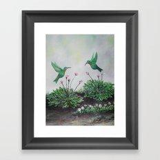 Hummingbirds and Hostas Framed Art Print