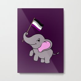 Elephant With Asexual Flag Asexual Gift Metal Print