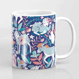 Spring Joy // navy blue background pale blue lambs and donkeys coral and teal garden Coffee Mug