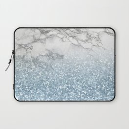 She Sparkles - Turquoise Teal Glitter Marble Laptop Sleeve