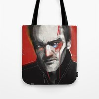 quentin tarantino Tote Bags featuring Quentin Tarantino by Zaneta Antosik