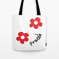 wallet Tote Bags featuring Inspired PRADA wallet *White and Red Flower* by art_146