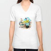 clockwork V-neck T-shirts featuring Clockwork by jnk2007