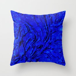 Indigo Lovely Calm Blue, Moroccan Traditional Texture Painting (N30) Throw Pillow