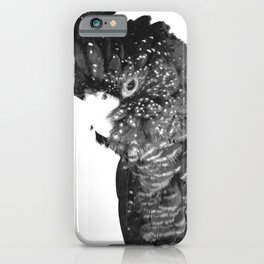 Black and White Cockatoo Illustration iPhone Case