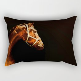 Horse Wall Art, Horse Portrait Over a Black background, Horse Photography, Closeup Horse Head Rectangular Pillow