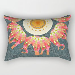 Elephants Parading in Roses Mandala Rectangular Pillow