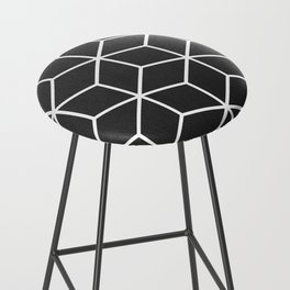 Charcoal and White - Geometric Textured Cube Design Bar Stool