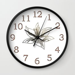 Silver Gold Lily Flower Wall Clock