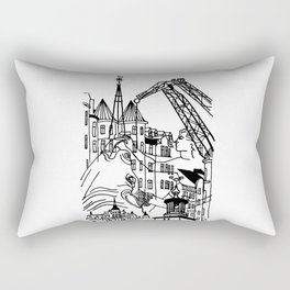 Three City Silhouettes Rectangular Pillow