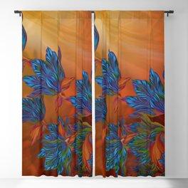 """Blue flowers on orange silk"" (Air Spring at night) Blackout Curtain"