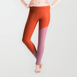 Bright Orange & Pink - oblique Leggings