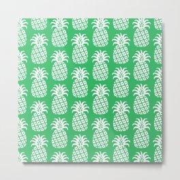 Mid Century Modern Pineapple Pattern Green Metal Print