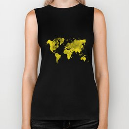 Yellow and black world map Biker Tank